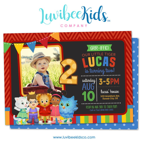 Daniel Tiger Invitation with Photo & Backside Image | Colorful Stripes