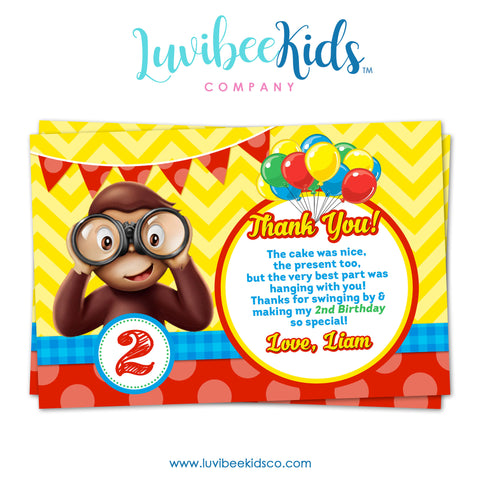 Curious George Invitation, Any Name & Age, Printable Invitations Design #001