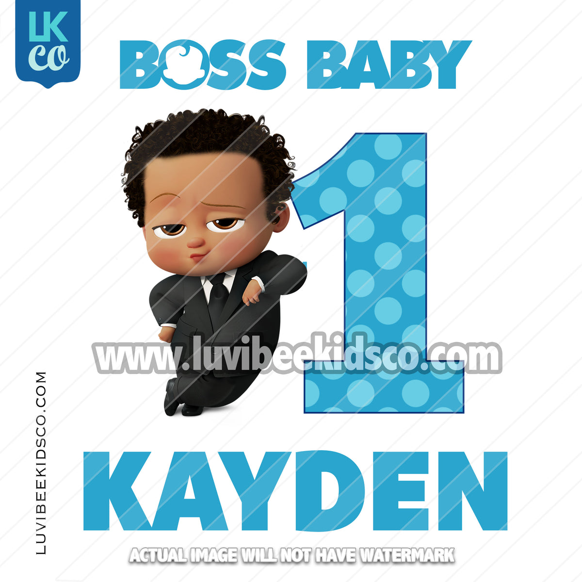7fdc8203c Boss Baby Iron On Transfer   African American Boy with Age ...