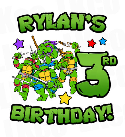 Teenage Mutant Ninja Turtles Iron On Transfer | TMNT Birthday