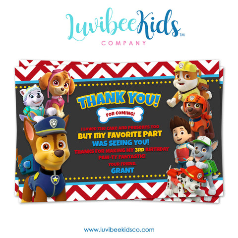 Paw Patrol Birthday Thank You Card - Personalized Card - Red Chevrons
