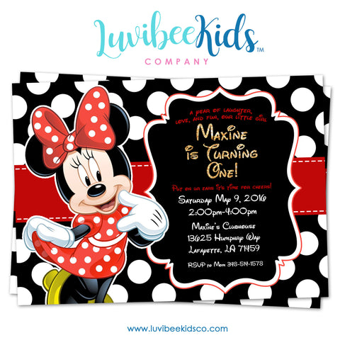 Minnie Mouse Birthday Invitation - Printable Invite - Style #02 - Red & Black - LuvibeeKidsCo