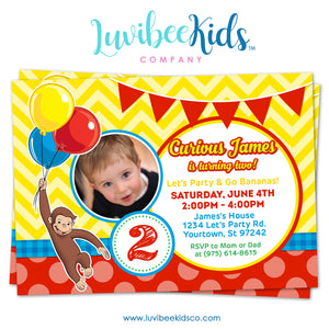 Curious George Invitation with Photo, Any Name & Age, Printable Invitations Design #005 - LuvibeeKidsCo