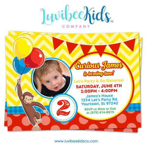 Curious George Invitation with Photo, Any Name & Age, Printable Invitations Design #005