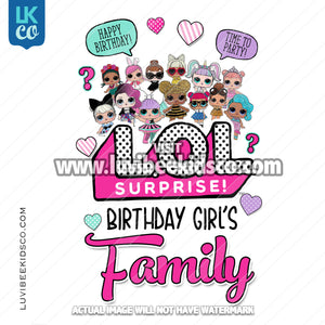 LOL Surprise Dolls Iron On Transfer Design - Add Family Members - Pink - LuvibeeKidsCo