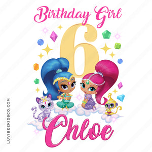 Shimmer and Shine Iron On Transfer | Birthday Girl - Gold