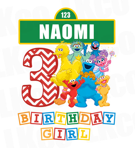Sesame Street Iron On Birthday Shirt Design | Birthday Girl
