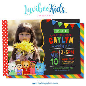 Daniel Tiger Invitation with Photo & Backside - LuvibeeKidsCo