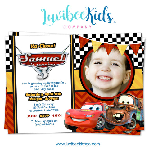 Cars Lightning McQueen Birthday Invitation with Photo | Disney Cars Birthday Printables - LuvibeeKidsCo