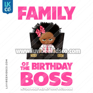 Boss Baby Iron On Transfer | Family of the Birthday Boss - Afro Girl - Briefcase - LuvibeeKidsCo