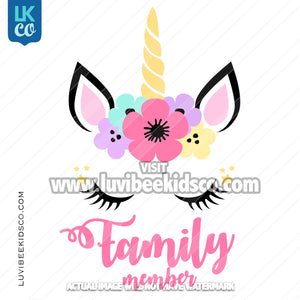 Unicorn Iron On Transfer | Add Family Members - Flowers - LuvibeeKidsCo