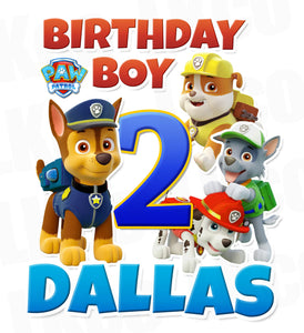 Paw Patrol Iron On Transfer | Birthday Boy Style 03