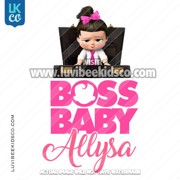 Boss Baby Iron On Transfer | Pink Baby Girl | Briefcase - LuvibeeKidsCo