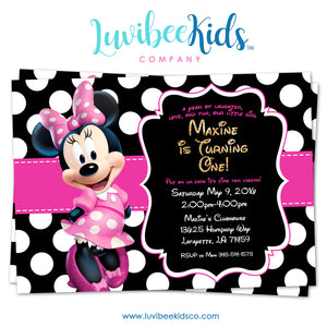 Minnie Mouse Birthday Invitation - Printable Invite - Style #01 - Pink & Black - LuvibeeKidsCo