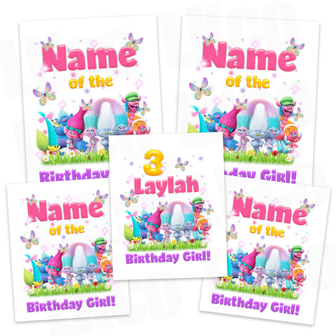 Trolls Iron On Transfers Family Pack | Birthday Girl