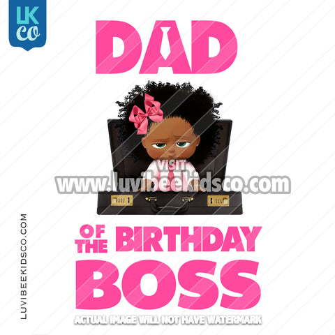 Boss Baby Iron On Transfer | Dad of the Birthday Boss - Afro Girl - Briefcase - LuvibeeKidsCo
