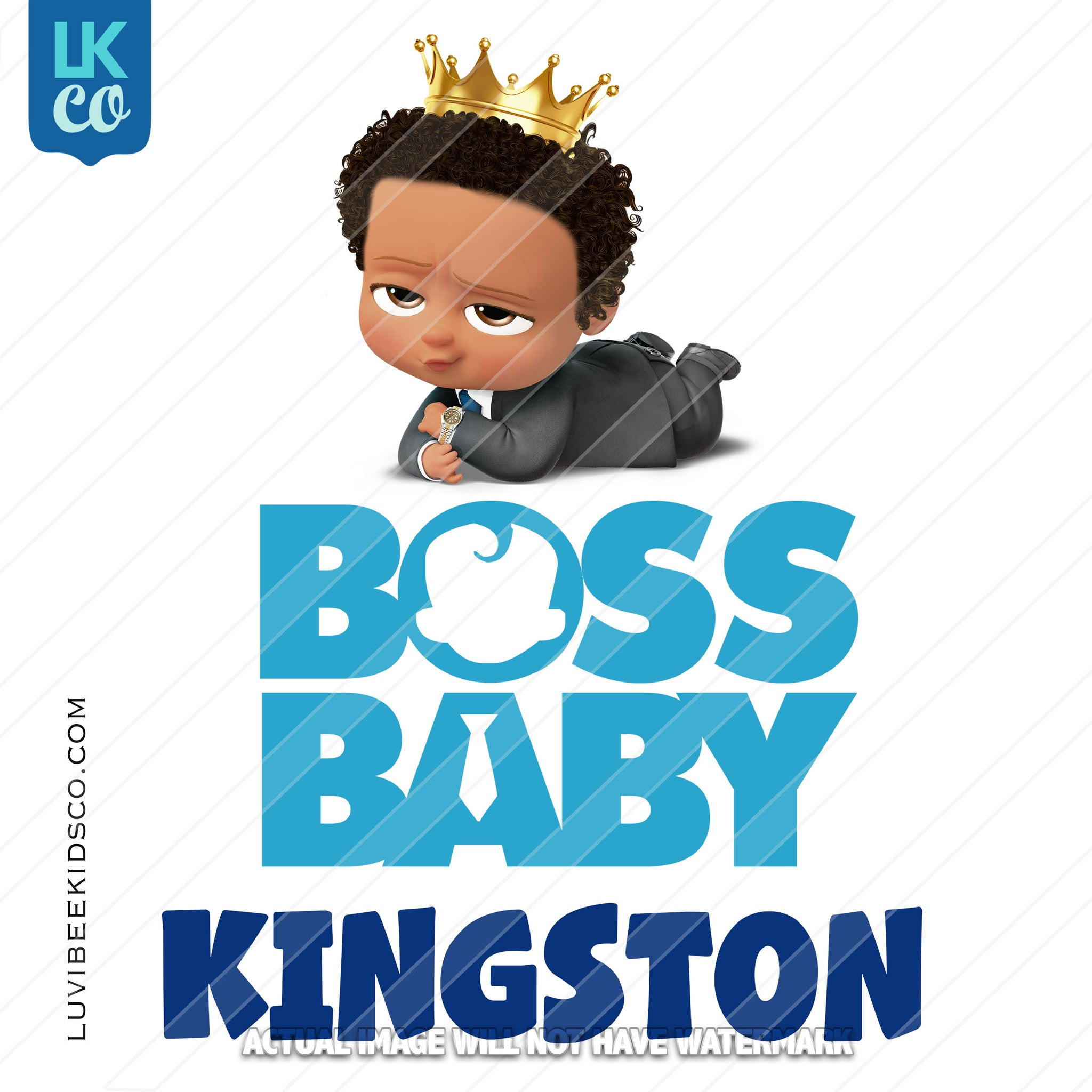 Boss Baby Iron On Transfer | African American Boy with Crown - LuvibeeKidsCo