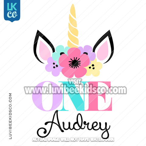 Unicorn Iron On Transfer | Flowers - Style 2 - LuvibeeKidsCo