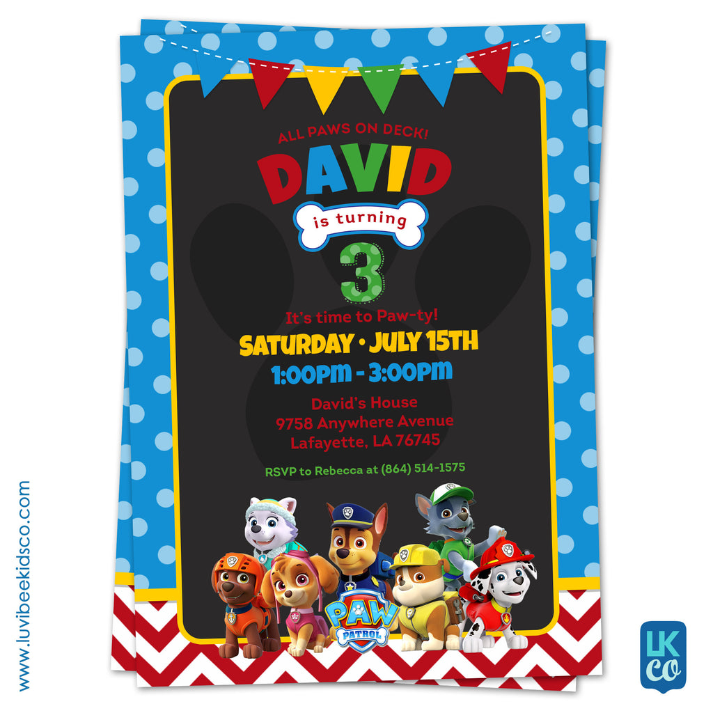 Paw Patrol Birthday Invitation with Backside | Blue Dots & Red Chevrons