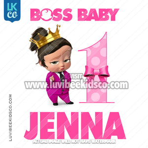 Boss Baby Iron On Transfer | Pink Baby Girl with Age - LuvibeeKidsCo