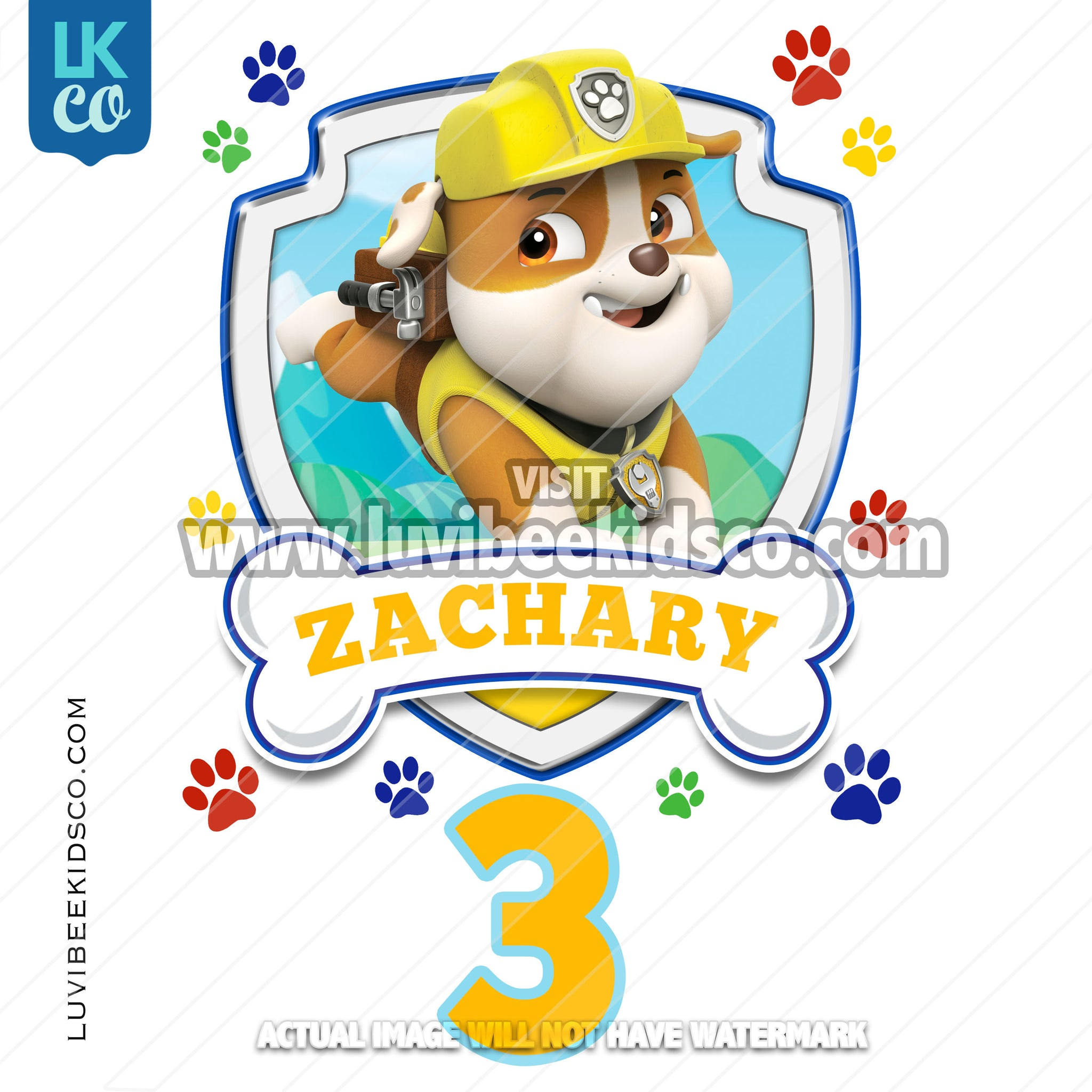 Paw Patrol - Rubble - Customize Any Name and Age - LuvibeeKidsCo