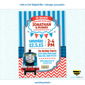 Thomas the Train Invitation, Any Name & Age, Printable Invitations Design #004 - LuvibeeKidsCo