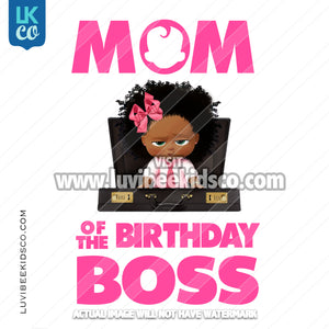 Boss Baby Iron On Transfer | Mom of the Birthday Boss - Afro Girl - Briefcase - LuvibeeKidsCo