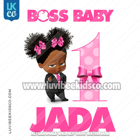 Boss Baby Iron On Transfer | African American Girl | Curly Puffs - with Age - LuvibeeKidsCo