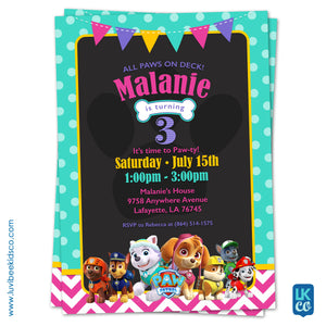Paw Patrol Birthday Invitation with Backside | Teal Dots & Pink Chevrons - LuvibeeKidsCo