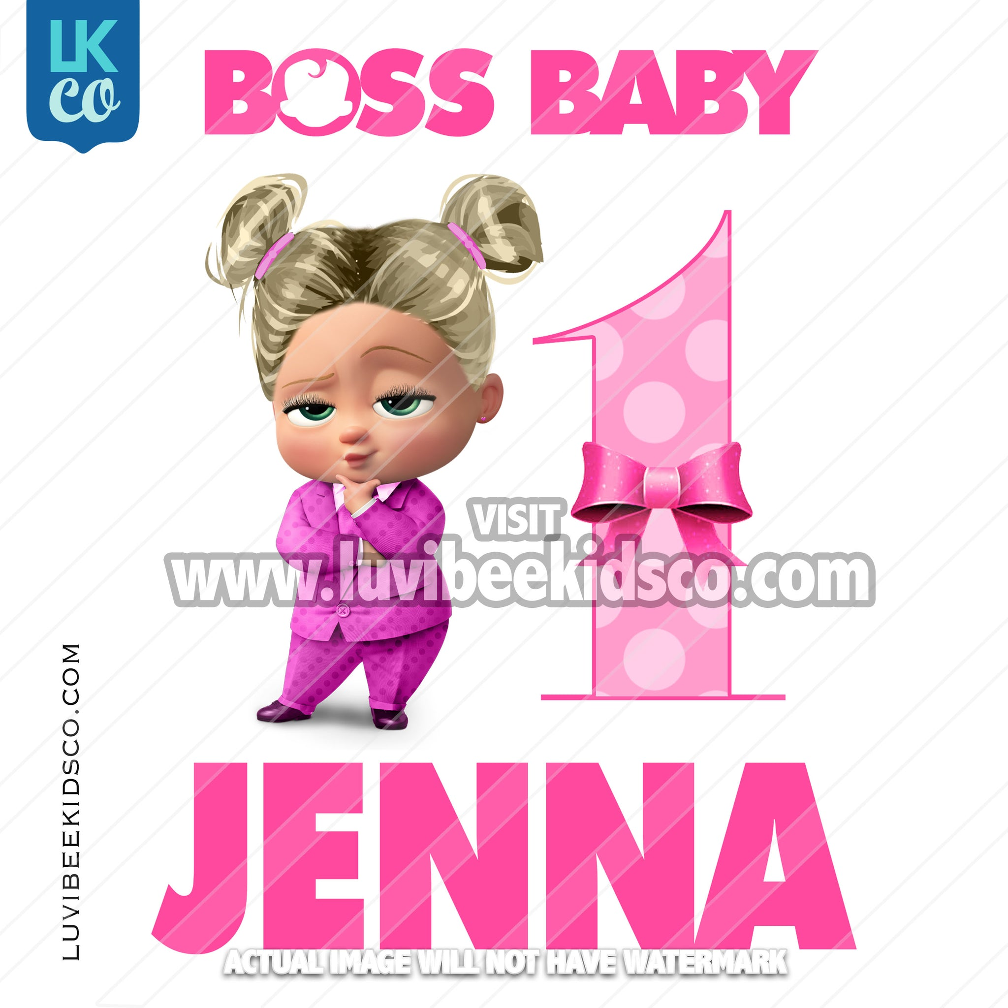 Boss Baby Iron On Transfer | Pink Baby Girl Puffs with Age - LuvibeeKidsCo