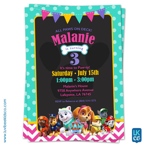 Paw Patrol Birthday Invitation with Backside | Teal Dots & Pink Chevrons