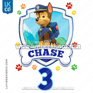 Paw Patrol - Chase - Customize Any Name and Age - LuvibeeKidsCo