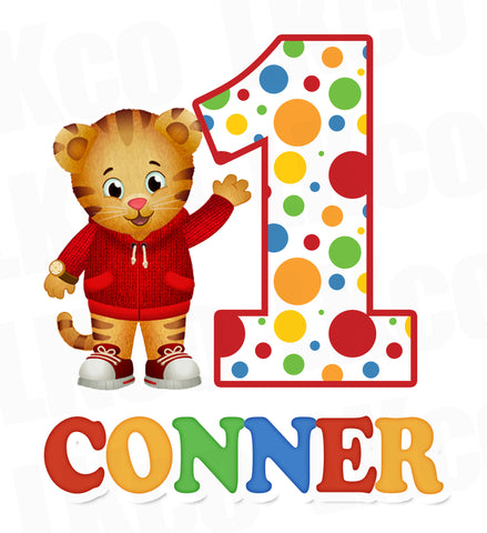 Daniel Tiger Iron On Transfer | Dots | Primary Colors