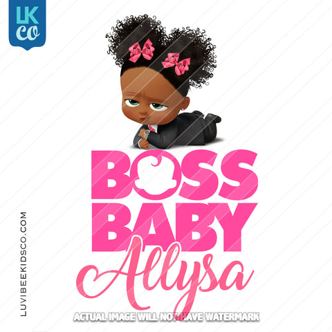 Boss Baby Iron On Transfer | African American Girl | Curly Puffs - LuvibeeKidsCo