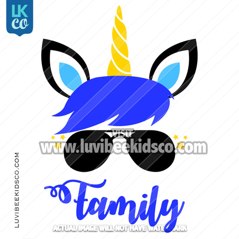 Unicorn Iron On Transfer | Add Family Members - Blue - LuvibeeKidsCo