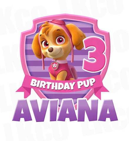 Paw Patrol Iron On Transfer | Skye Pup - Pink & Purple