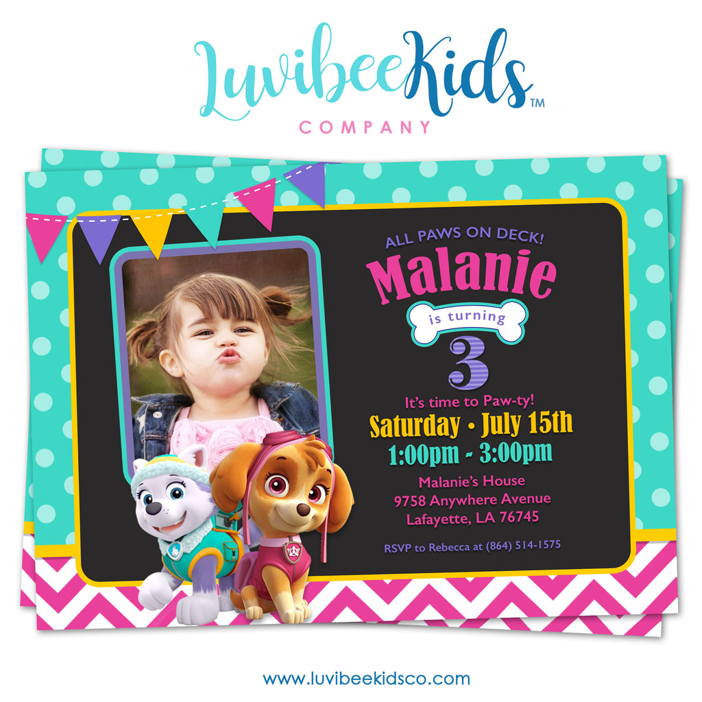 Paw Patrol Birthday Invitation with Photo & Backside | Teal Dots & Pink Chevrons