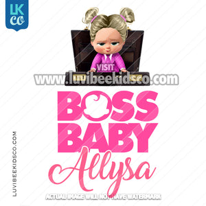 Boss Baby Iron On Transfer | Pink Baby Girl with Puffs | Briefcase - LuvibeeKidsCo