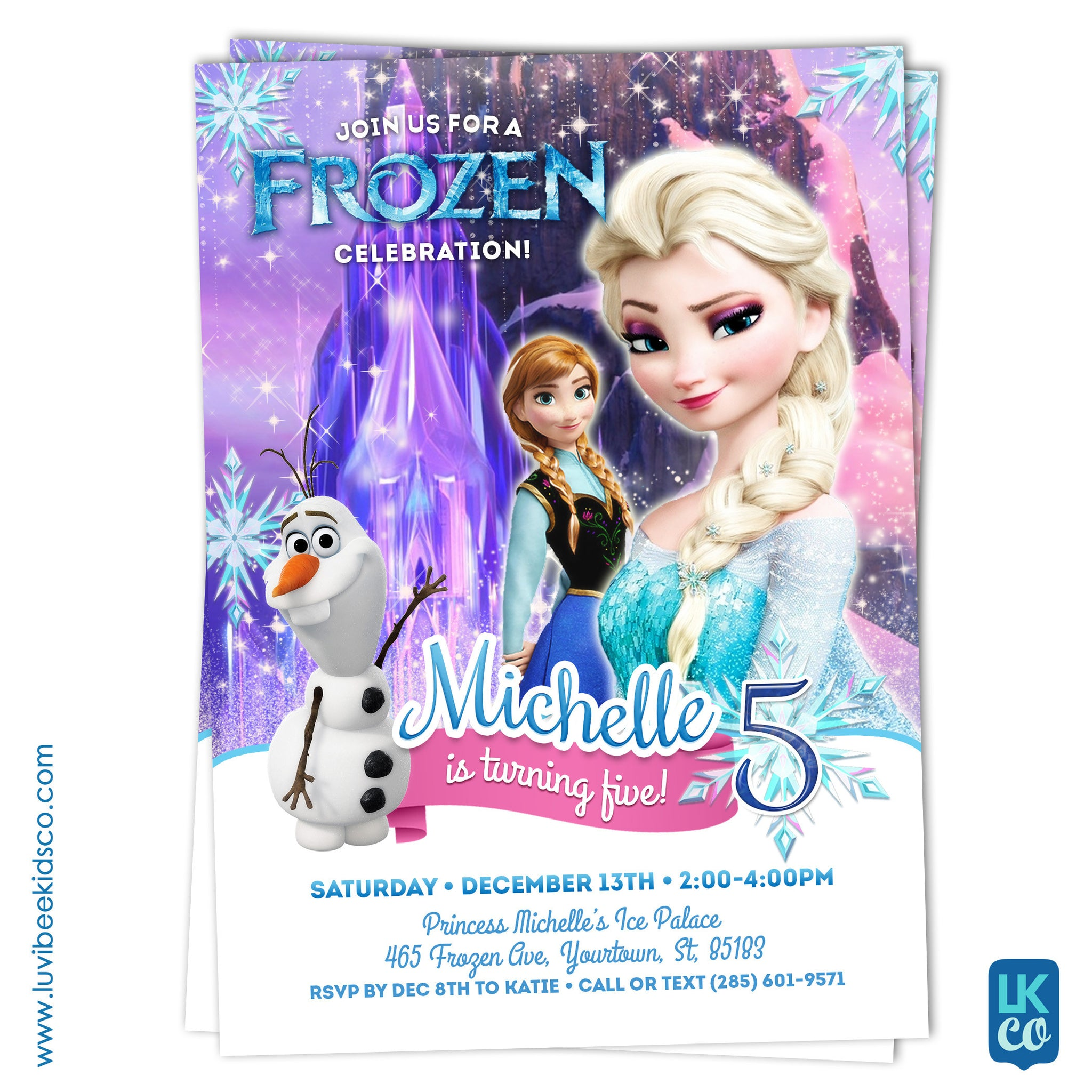 Frozen Birthday Invitation Style 02 | Frozen Elsa, Anna, and Olaf Birthday Party Printables - LuvibeeKidsCo