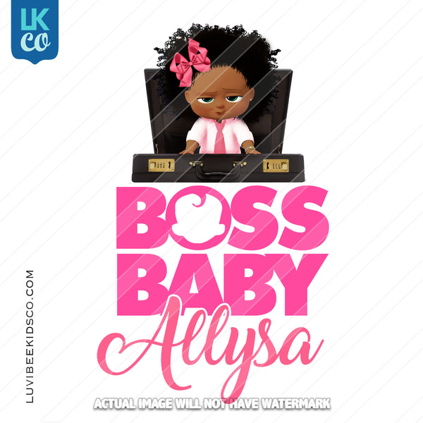 Boss Baby Iron On Transfer | African American Girl | Briefcase - LuvibeeKidsCo