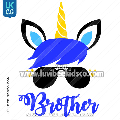 Unicorn Iron On Transfer | Blue - Brother - LuvibeeKidsCo