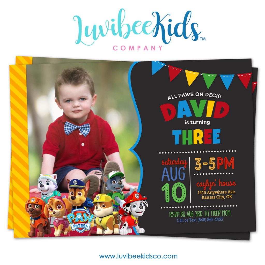 Paw Patrol Birthday Invitation with Photo | Primary Colors