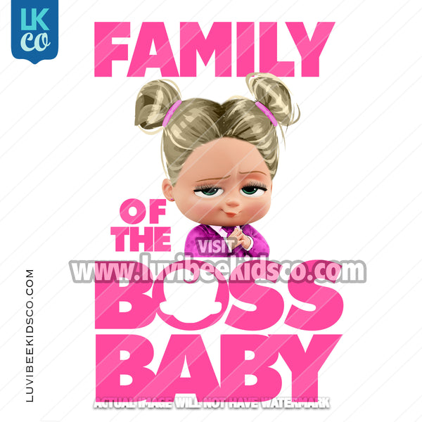 Boss Baby Iron On Transfer | Family of the Birthday Boss - Pink Baby Girl with Puffs - LuvibeeKidsCo