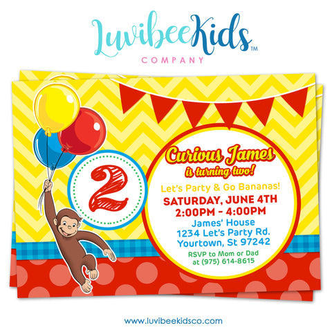 Curious George Invitation, Any Name & Age, Printable Invitations Design #002