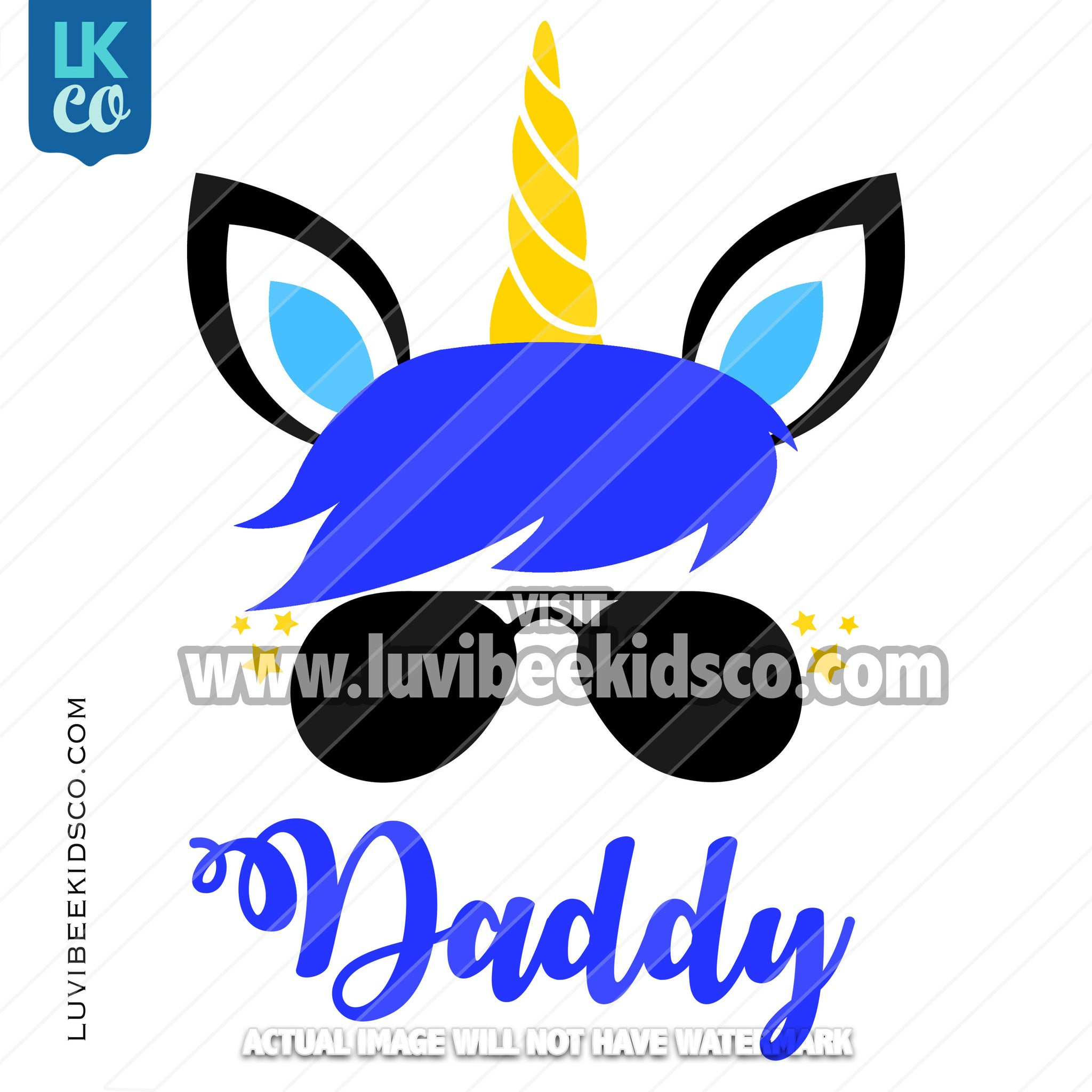 Unicorn Iron On Transfer | Blue - Daddy - LuvibeeKidsCo