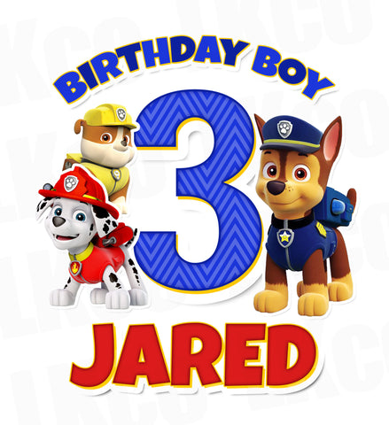 Paw Patrol Iron On Transfer | Birthday Boy Style 04