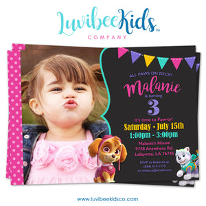 Paw Patrol Birthday Invitation with Photo & Backside | Pink Chevrons - LuvibeeKidsCo