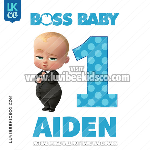 Boss Baby Iron On Transfer | Blue Baby Boy with Age - LuvibeeKidsCo