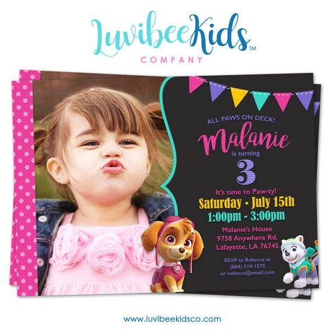 Paw Patrol Birthday Invitation with Photo & Backside | Pink Chevrons