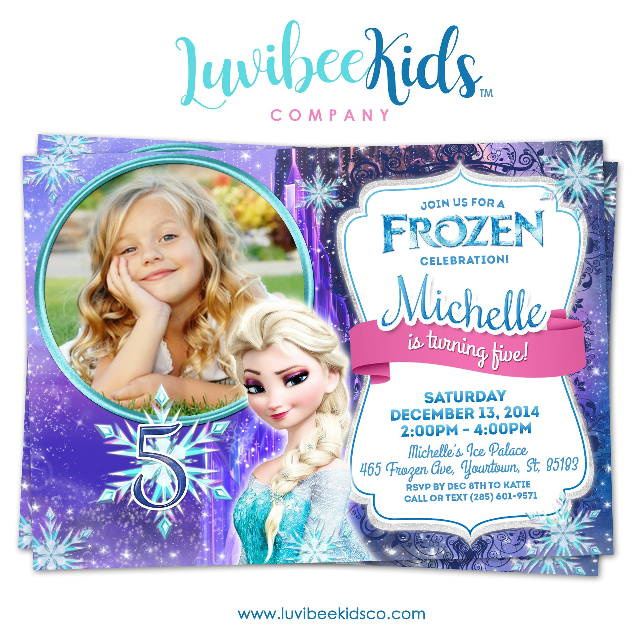 Frozen Birthday Invitation | Frozen Elsa with Photo - LuvibeeKidsCo